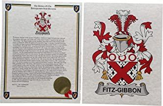 Fitz-Gibbon - Coat of Arms and Last Name History - 8.5x11 Print Combo Set