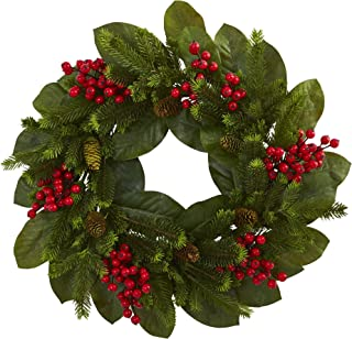 Nearly Natural 24 in. Magnolia Leaf, Berry and Pine Artificial Wreaths, Green