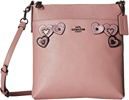 Messenger Crossbody in Heart Applique