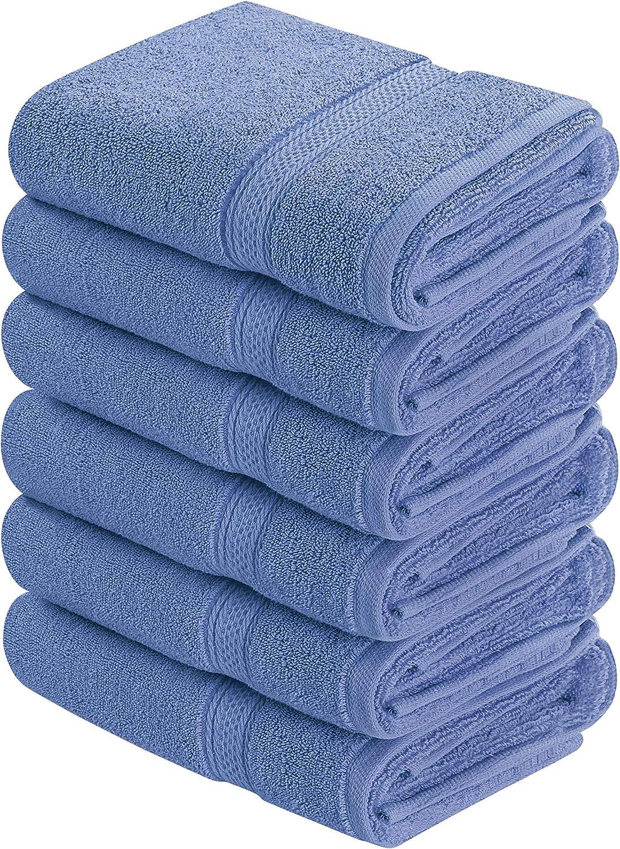 Utopia Towels - Toallas de Mano Grandes de algodón multipropósito para baño, Manos, Cara, Gimnasio y SPA - Dimensiones 41 cm x 71 cm - Paquete de 6 (Azul eléctrico)