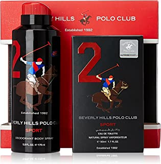 Beverly Hills Polo Club Sports EDT for Men, 50ml with Deodrant, No 2, 175ml