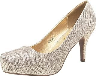 VEPOSE Women's Low Stiletto Heel Pumps Front Inner Waterproofing Platform Almond Toe Elegant Mid Heel Classic Dress Shoes for Women