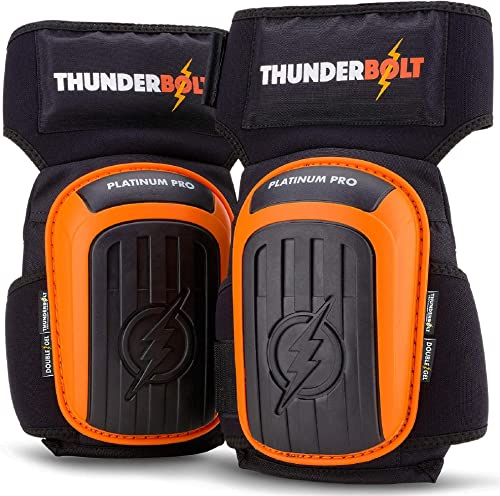 THUNDERBOLT Knee Pads for Work, Construction, Flooring, Gardening, Cleaning, with Double Gel, Thick Foam Cushion and ...