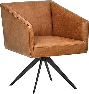 comprar comparacion Marca Amazon -Rivet Vibe - Silla de escritorio de cuero con sistema giratorio, 64 cm de ancho (marrón)
