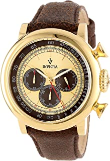 Invicta Mens 13058 Vintage Gold-Tone Stainless Steel Watch with Distressed Leather Band