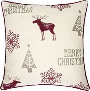 Homey COZY Embroidery Velvet Throw Pillow Cover, Merry Christmas Series Reindeer Tree Luxury Soft Fuzzy Cozy Warm Slik Decorative Gift Square Couch Cushion Pillow Case 20 x 20 Inch, Cover Only