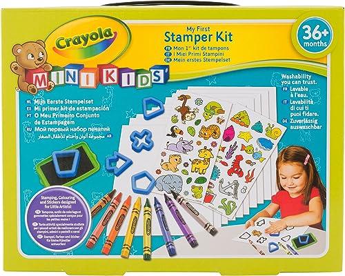 Crayola - Mon 1er Kit de tampons ancien - Loisir créatif - Mini Kids - à partir de 2 ans - Jeu de dessin et coloriage