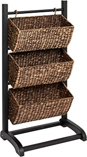 Best Choice Products 3-Tier Water Hyacinth Storage Basket Tower Shelving Cubby Display Organizer w/Metal Frame - Brown