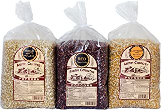 Amish Country Popcorn - 3 (6 Pound Variety Bundle) Red, Ladyfinger & Medium White Kernels Old Fashioned, Non GMO, Gluten Free, Microwaveable, Stovetop and Air Popper Friendly with Recipe Guide