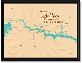 Lake Gaston VA North Carolina Vintage-Style Map Professionally Framed Giclee Archival Canvas Wall Art for Home & Office by Lakebound (9