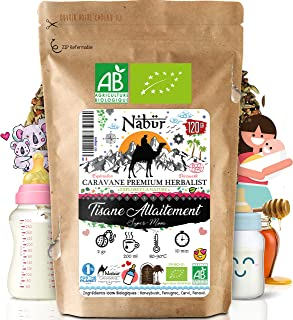 Nabür - Tisane Allaitement N°1 BIO 120 Gr ⭐ 4-en-1 ⭐ Tisane Fenouil, Carvi, Fenugrec, Honeybush ⭐ Coliques, Favorise la la...