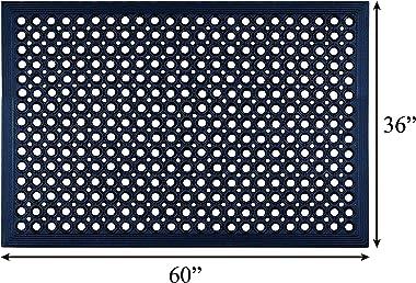 "A1 Home Collections A1HCHA01-BLA Doormat Anti Fatigue Mat | Multi Purpose |Safe-Walk |Water, 36"" x 60"", Black"