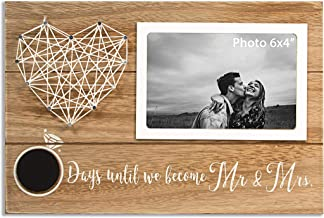 VILIGHT Unique Engagement and Bridal Shower Gifts for Couples - Rustic Mr and Mrs Picture Frames for Bride and Groom to Be Wedding Day Countdown - 6x4 Photo
