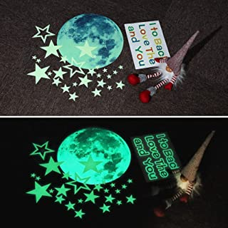 Marsway Lovely Glow in The Dark Stickers Night Luminous I Love You to The Moon and Back Decal 30cm Moon Stars Ceiling Stic...