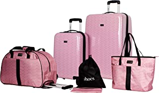 Steve Madden Signature 6 Piece Spinner Suitcase Set Collection (One Size, Pink)