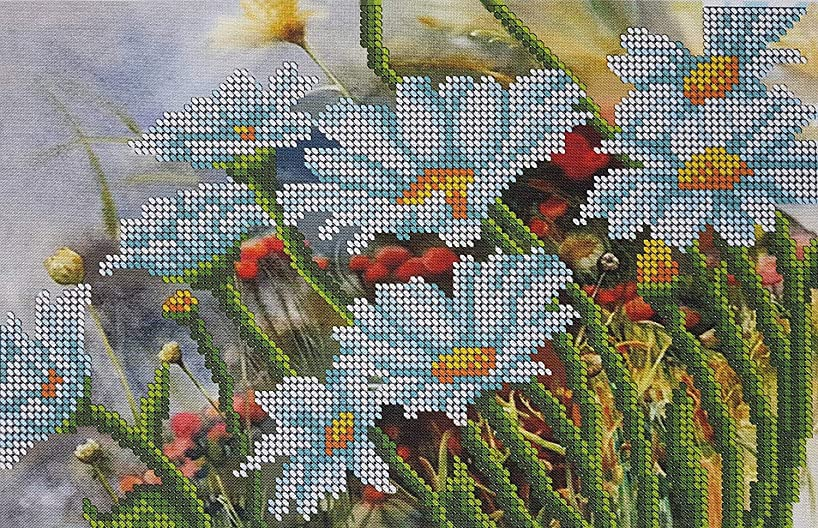 Bead Embroidery kit Chamomiles Beaded Cross Stitch Flowers Needlepoint Handcraft Tapestry kit
