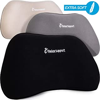 Soft RS1 Back Support Pillow by RelaxSupport – Lumbar Pillow Upper and Lower Back for Chair Back Pain Uses ArcContour Special Patented Technology Has Unique Lateral Convex Shape for a Pain Free Back