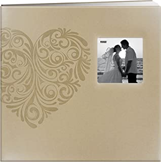 Pioneer Photo Albums MB-10EW Postbound Embossed Leatherette Frame Cover Wedding Memory Book, 12-Inch by 12-Inch, Heart