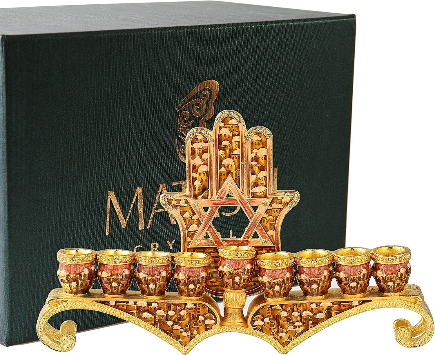 Matashi Hand Painted Enamel Menorah Candelabra Embellished with gold Accents and Crystals (Red Hamsa)