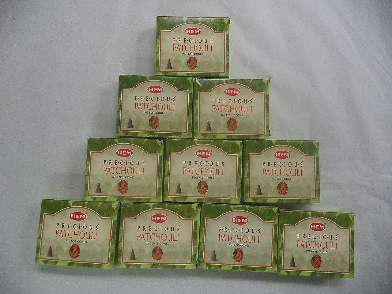 牛究極の上向きHEM Incense Cones: Precious Patchouli - 10 Packs of 10 = 100 Cones by Hem