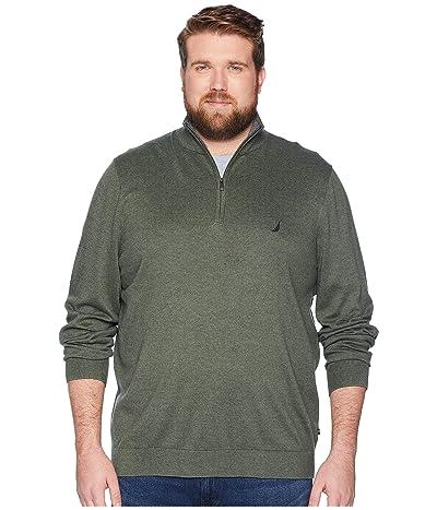 Nautica Big & Tall Big Tall 1/4 Zip Mock Neck (Pine Forest Heather) Men