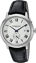 Raymond Weil Men's Maestro Stainless Steel Swiss-Automatic Watch with Leather Calfskin Strap, Black (Model: 2238-STC-00659)
