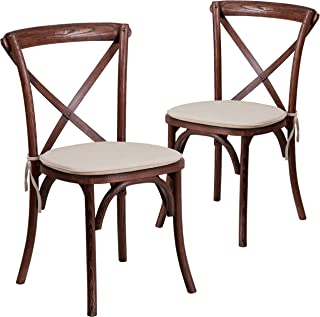 Flash Furniture 2 Pk. HERCULES Series Mahogany Cross Back Chair with Cushion