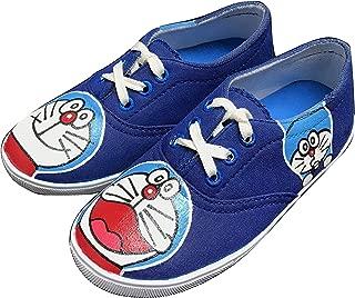 FUNKY N TRENDY Doraemon Blue Hand Painted Waterproof Women's Canvas Shoes