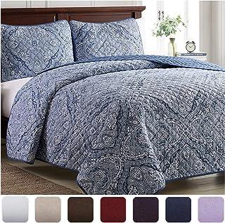 Mellanni Bedspread Coverlet Set Medallion-Blue - Comforter Bedding Cover - Oversized 3-Piece Quilt Set (King/Cal King, Med...