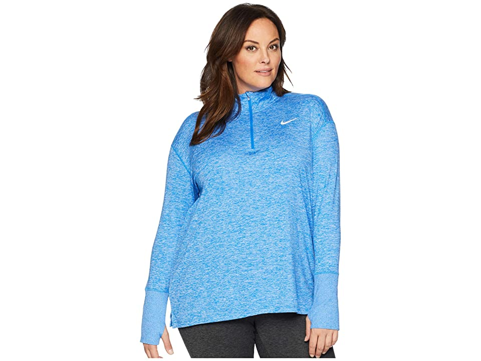 Nike Element 1/2 Zip Top (Sizes 1X-3X) (Signal Blue/Cobalt Tint/Heather) Women