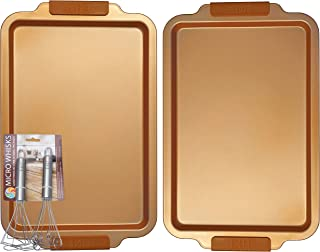 E4U Copper Kitchen Cookie Sheet - Ceramic Baking Pans - 18 x 11 Deep Dish Carbon Steel Bakeware with Silicone Handles and Bonus Whisk Set (2)