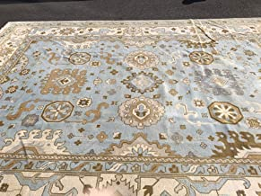 Hafez Rug Gallery Handmade Turkish Oushak Rug, 10x14, Sky Blue with Ivory & Taupe Accents, Natural Dyes, Geometric All-Over Design
