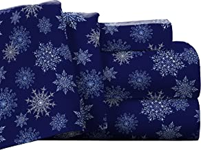 Pointehaven Flannel Deep Pocket Set with Oversized Flat Sheet, King, Snow Flakes Navy
