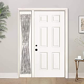 DriftAway Adrianne Door Curtain Thermal Room Darkening Privacy Door Panel Curtain with Bonus Adjustable Tieback 25 Inch by 72 Inch Plus 1.5 Inch Header Beige and Gray