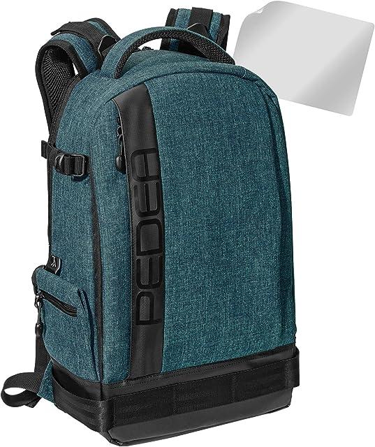 Pedea - Mochila para cámara réflex con Protector de Pantalla para Olympus E-M10 E-M5 Mark II Pen E-PL8 E-PL9 Canon EOS M50 Nikon D5600 D7500 Panasonic Lumix DMC G9 G70 G81 GX8 GX80 Color Azul