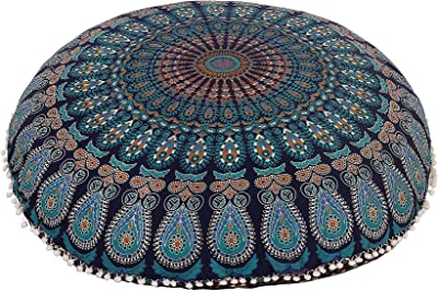 Anokhiart Blue 32 Mandala Barmeri Large Floor Pillow Cover Cushion Meditation Seating Ottoman Throw Cover Hippie Decorative With Back Side Zipper Bohemian Pouf Cover Home Kitchen
