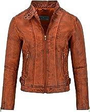 Ladies Leather Jacket Dirty Orange Wax Stylish Quilted Shoulder Biker Style 3061