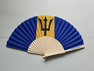 Barbados Flag Fabric Folding Hand Fan with Bamboo Handle