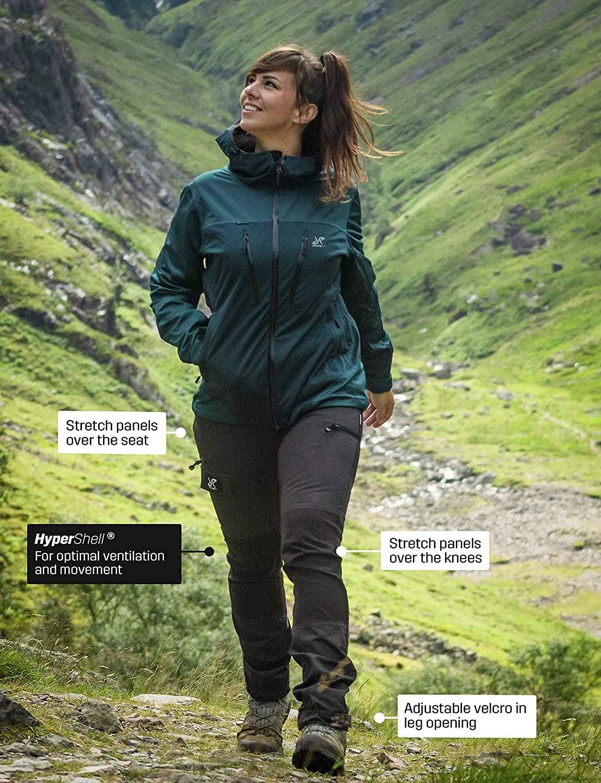 Camping Mountainbiken und Agility RevolutionRace Nordwand Pants Damen Wasserabweisende Atmungsaktive und Strapazierf/ähige Outdoorhose zum Wandern Klettern Trekking