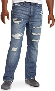 True Nation by DXL Big and Tall Distressed Athletic-Fit Stretch Jeans