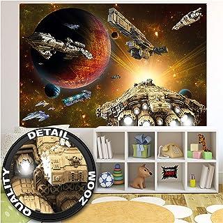 GREAT ART Mural De Pared Cuarto De Los Niños – Galaxia Adventure – Transbordador Y Nave Espacial Misión Space Shuttle Ciencia Ficción Niñas Foto Papel Tapiz Y Decoración 210 x 140 cm