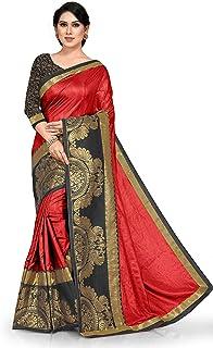 SOURBH Women's New Peacock Pattern Zari Woven Silk Blend Lace Border Saree