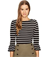 Kate Spade New York - Stripe Flounce Knit Top
