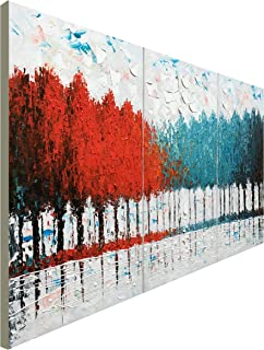 Hand Painted Turquoise and Red Tree Oil Painting on Canvas Abstract Landscape Wall Art for Decor (48