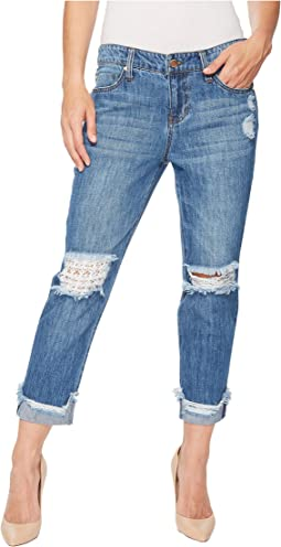 Liverpool - Kennedy Crop Boyfriend in a Classic Soft Rigid Denim in Gramercy Patched