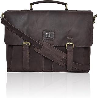 Genuine Leather Laptop Messenger Bag for Men- Premium Office Briefcase 18