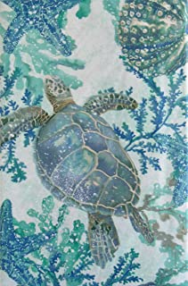 """Sea Life Swimming Among Seaweed Vinyl Flannel Back Tablecloth 60"""" Round Multi"""