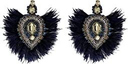 Embellished Feather Earrings