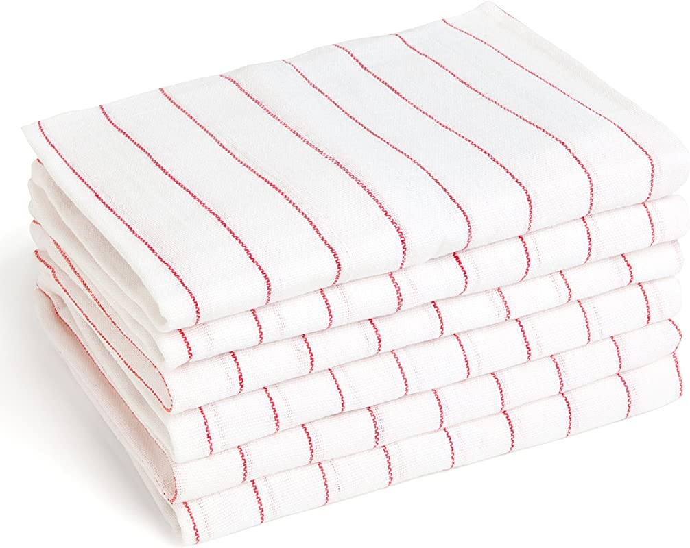 13 Glass Towels 16 X 27 Commercial Grade 100 Cotton Kitchen Towels Dish Towels In White With Red Stripes No Streaks Or Spots On Glasses Flutes Wine Glasses Liliane Collection