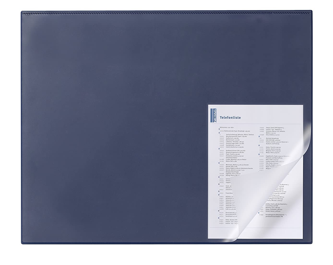 Durable 729307 Desk Mat with Edge Protector 650 x 500 mm Dark Blue
